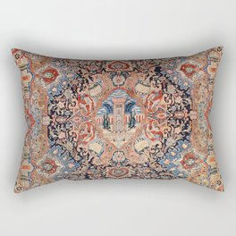 Persia Carpet 19th Century Authentic Colorful Black Blue Red Vintage Patterns Rectangular Pillow
