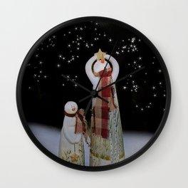 Starry Night Snowmen Wall Clock