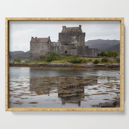 Eilean Donan Castle Mirrored in the Lake | Scottish Travel Photography Serving Tray