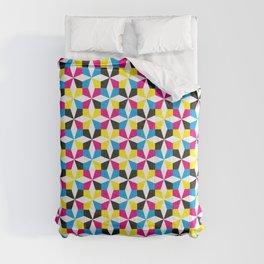 Geometric Diamond Pattern (CMYK) Comforters