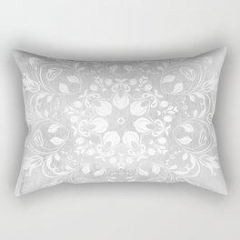 white on gray mandala design Rectangular Pillow