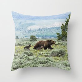 Heading South, No. 2 - Grizzly 399 and Cubs Throw Pillow