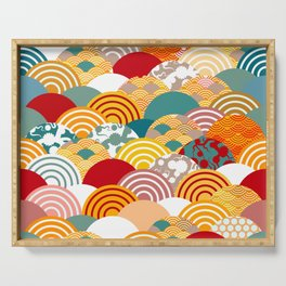 Nature background with japanese sakura flower, orange red pink Cherry, wave circle pattern Serving Tray