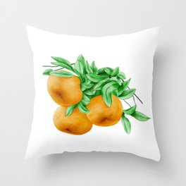 Watercolor Illustration of Chinese honey orange ponkan, which are widely grown in the United States, Brazil, Japan and China. Throw Pillow