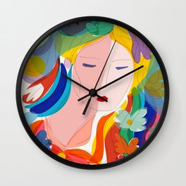 Le Rêve Rouge The Red Dream Poetic Portrait French Art Wall Clock