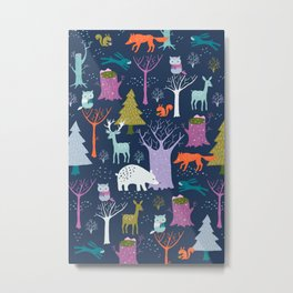 winter woodland animals Metal Print