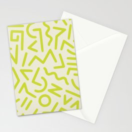 Chartreuse abstract line art 16 Stationery Cards