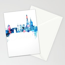 Colorful watercolor Paris skyline Stationery Cards