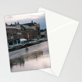 Dutch cyclist biking over a frozen canal in winter | Old historical city of Haarlem, Noord-Holland, Netherlands Stationery Cards