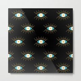 Teal Evil Eye on Black Small Pattern Metal Print