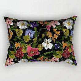 Moody Floral Garden Rectangular Pillow