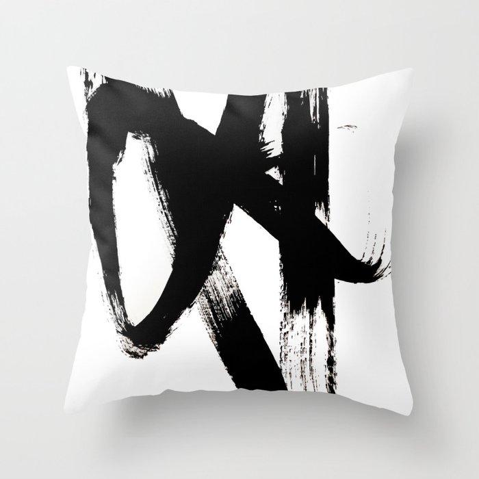 Brushstroke 2 - simple black and white Deko-Kissen