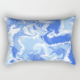 Blue and White Ocean Alcohol Ink  Rectangular Pillow
