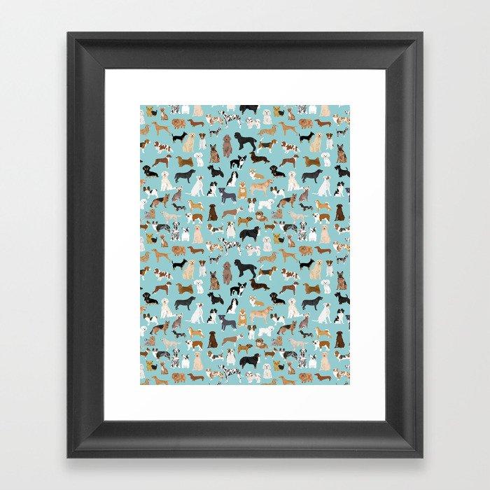 Dogs pattern print must have gifts for dog person mint dog breeds Gerahmter Kunstdruck
