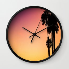 Palm Tree Silhouette & Orange Purple Sunset Wall Clock