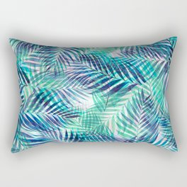Palm Leaves - Indigo Green Rectangular Pillow