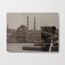"Sultan Ahmed Mosque (""Blue Mosque"", Istanbul, TURKEY) from Galata Bridge fisherman Metal Print"