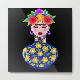 Fabulous Frida Vase Metal Print