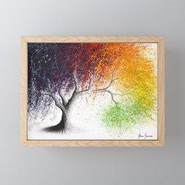 Rainbow Seasons Tree Framed Mini Art Print