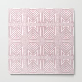 Nappy Faux Velvet Framed Wicker Repeat in Pink  This re Metal Print
