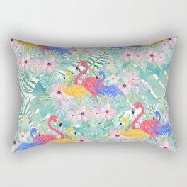 Tropical pink green watercolor floral colorful flamingo bird Rectangular Pillow