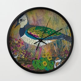 Beautiful And Unusual Lapwing With Chicks. Groundneste ... Wall Clock