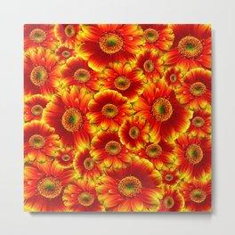 Red Orange Chrysanthemums Metal Print