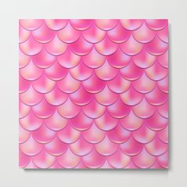 Hot Pink Mermaid Pattern, Holographic Fish Scale Print Metal Print
