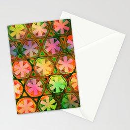 Rainbow Flower Octagons Twilight Stationery Cards