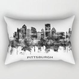 Pittsburgh Pennsylvania Skyline BW Rectangular Pillow