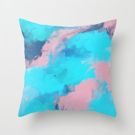 Modern abstract teal pink paint brushstrokes Throw Pillow
