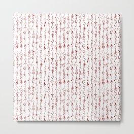 Ancient Japanese Calligraphy // Dark Red Metal Print