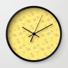 Libra Abstract Yellow Red Zodiac Horoscope Print Wall Clock
