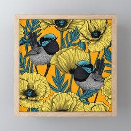 Fairy wren and poppies in yellow Framed Mini Art Print