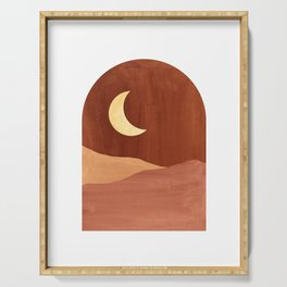 Terracotta night, abstract landscape, moon and desert Serving Tray