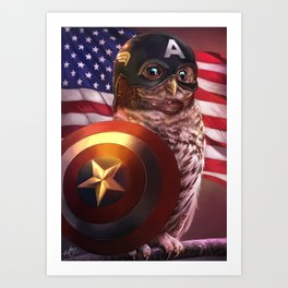 Captain Owlmerica Kunstdrucke