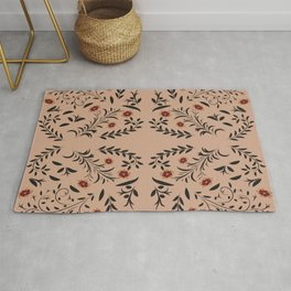 Floral seamless pattern with flowers and leaves hohloma style  Rug