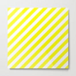 Diagonal Stripes (Yellow & White Pattern) Metal Print