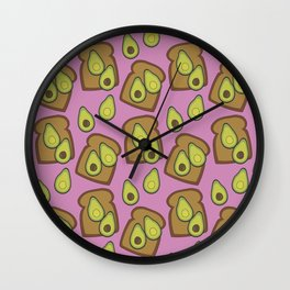 Avocado Toast Pink Wall Clock