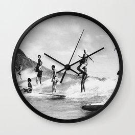 Hawaii Tandem Surfing Vintage Photograph Wall Clock