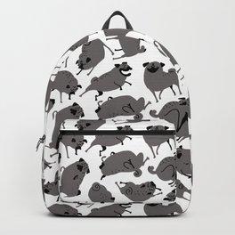 Peppy Black Pug pattern - black and white Backpack