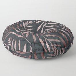 Rose Gold Leaves on Dark Gray Black Floor Pillow
