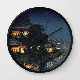 Tsuchiya Koitsu - Yanagibashi - Japanese Vintage Woodblock Painting Wall Clock
