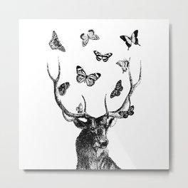 The Stag and Butterflies | Deer and Butterflies | Vintage Stag | Vintage Deer | Black and White | Metal Print