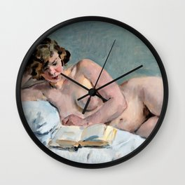 Isaac Lazarus Israels - Reclining Reading Nude - Digital Remastered Edition Wall Clock
