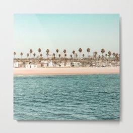 Vintage Newport Beach Print {1 of 4} | Photography Ocean Palm Trees Teal Tropical Summer Sky Metal Print