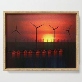 Boats at Sunset (Digital Art) Serving Tray