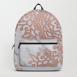 Blooming rose gold mandalas on soft grey marble Backpack
