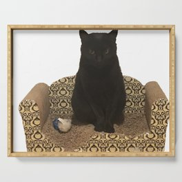 The Queen on her Couch, Edie the Manx, Black Cat Photograph Serving Tray