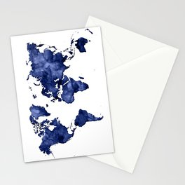 Dark navy blue watercolor world map Stationery Cards
